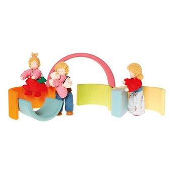 Grimms houten speelgoed Grimms 6-delige regenboog, pastel