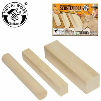 Kids at work kindergereedschap 3 staafjes hout om houtsnijwerk te maken
