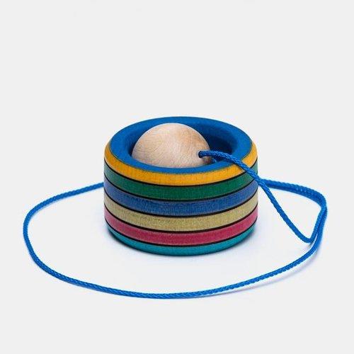 Mader houten tollen Bilboquet vangbalspel meerkleurig