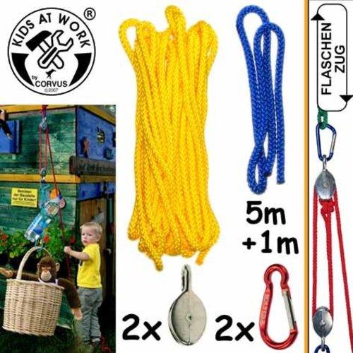 Kids at work kindergereedschap Takel met katrol en 5 meter touw om alles omhoog te takelen wat je wilt!