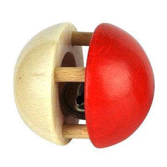 Voggenreiter kindermuziekinstrumenten Houten rammelaar bal met bel in rood-naturel