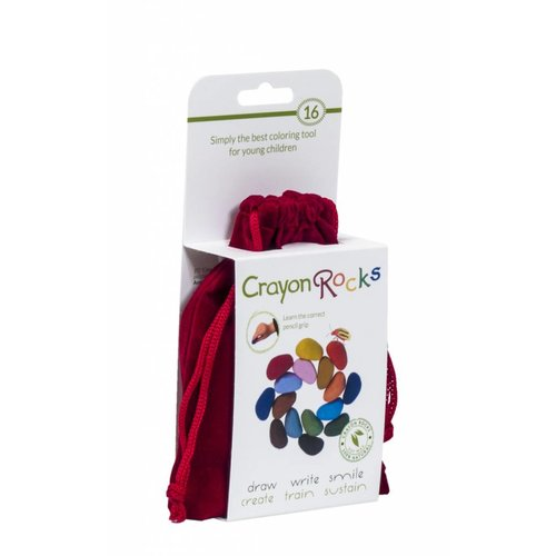 Crayon Rocks sojawaskrijtjes Crayon Rocks - 16 waskrijtjes in rood fluwelen zakje