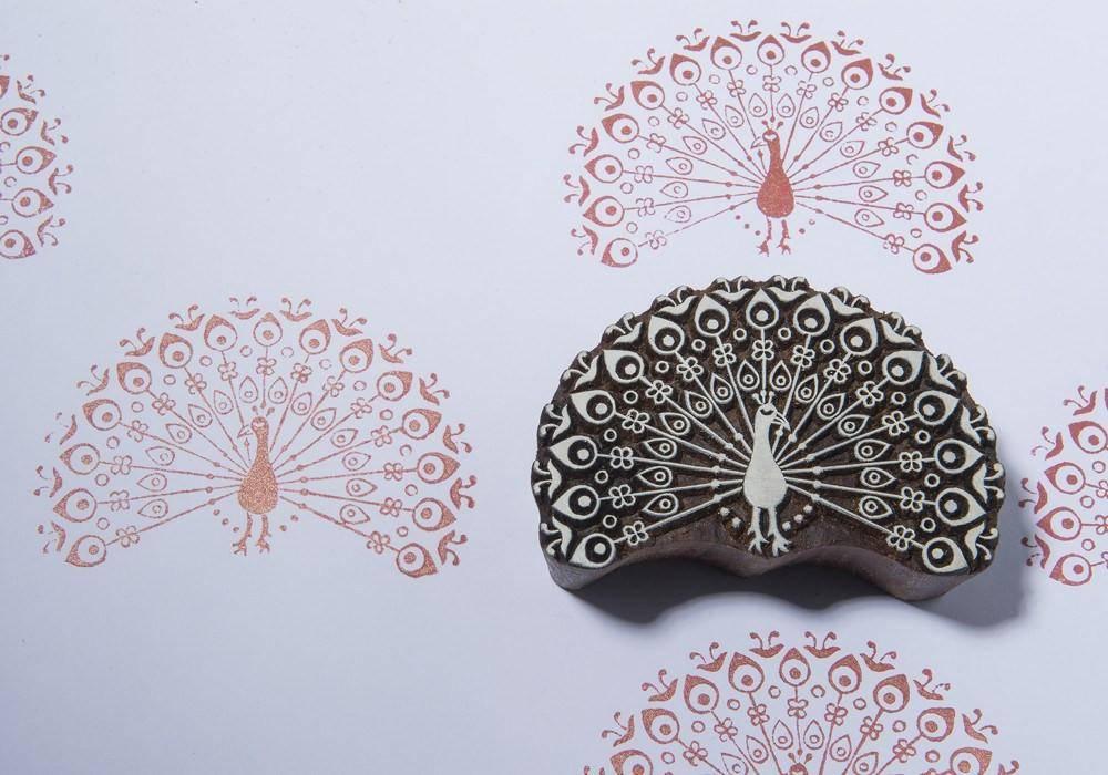 Mooie Houten Stempels.Blockwallah Blokstempel Beautiful Peacock Mooie Pauw 010
