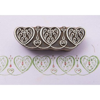 Blockwallah houten stempels Blokstempel Border hearts - Rand harten
