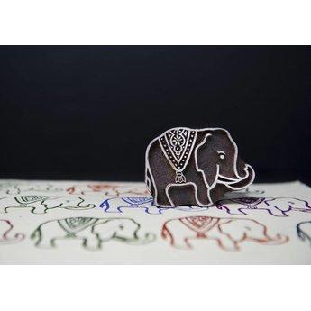 Blockwallah houten stempels Blokstempel Royal Elephant - Koninklijke Olifant