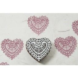 Blockwallah houten stempels Blokstempel kanten hart