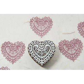 Blockwallah houten stempels Blokstempel Lace heart