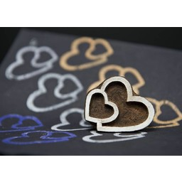 Blockwallah houten stempels Blokstempel Tweeling hart