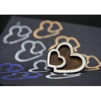 Blockwallah houten stempels Blokstempel Twin hearts - Tweeling hart