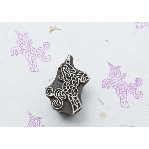 Blockwallah houten stempels Blokstempel beautiful Unicorn - mooie eenhoorn