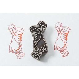 Blockwallah houten stempels Blokstempel vrolijke pelikaan