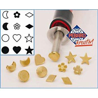 Pebaro knutselgereedschap stempelset figuren 12-delig met sterren, maan, bloemen en harten