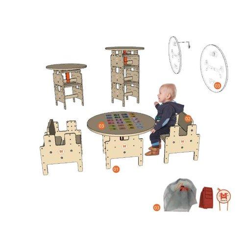 RobHoc flexibele schoolmeubels Rond speltafelblad voor op kinderkruk