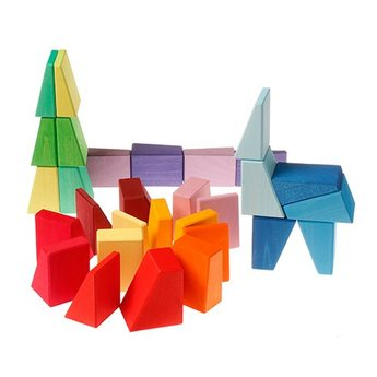 Grimms houten speelgoed Bouwset ongelijke schuine blokken