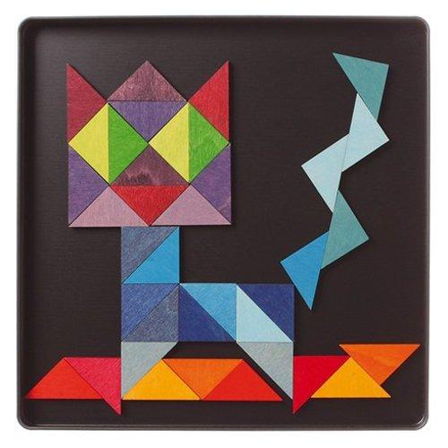 Grimms houten speelgoed Magneetpuzzel gekleurde driehoeken