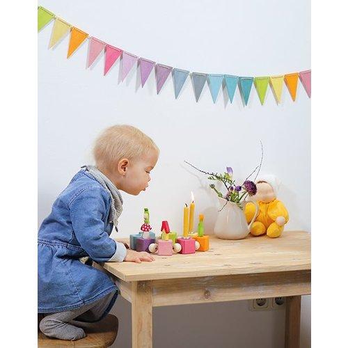 Grimms houten speelgoed Houten vlaggenlijn pastel - wimpel