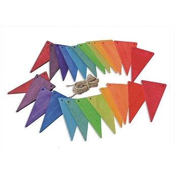 Grimms houten speelgoed Houten vlaggenlijn regenboog - wimpel