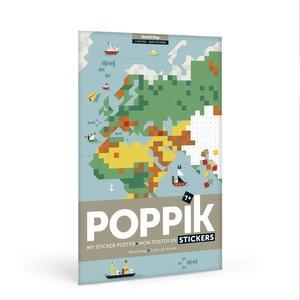 Poppik Poppik Maak je eigen sticker poster - Wereldkaart
