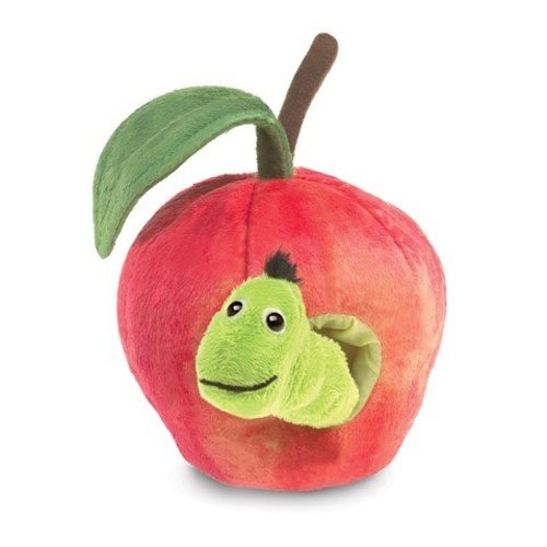 Folkmanis handpoppen en poppenkastpoppen Handpop worm in appel