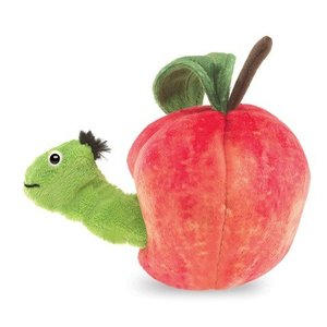 Folkmanis handpoppen en poppenkastpoppen Folkmanis vingerpop worm in appel