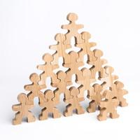 Flockmen houten poppetjes 16 stuks