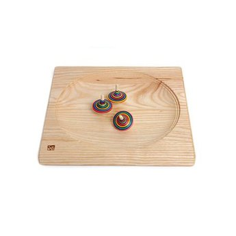 Mader houten tollen Tolbord van massief donker hout 20 x 20 cm