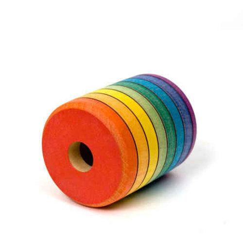 Mader houten tollen facetoog, handgeverfd in regenboogkleuren