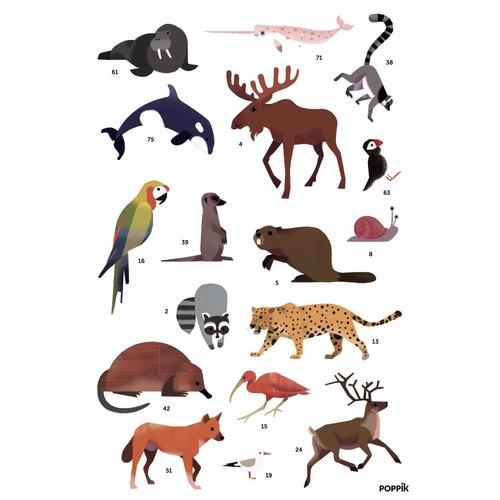 Poppik stickerkunst Stickerposter dieren van de wereld