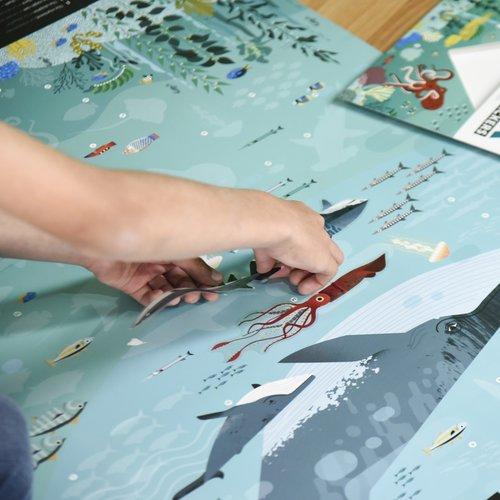 Poppik stickerkunst Stickerposter Oceanen - de dierewereld onder water