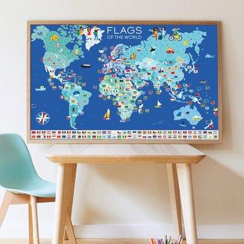 Poppik stickerkunst Stickerposter vlaggen van de wereld