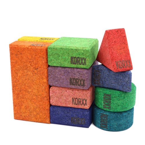 KORXX kurk blokken KORXX Baby C - 10 gekleurde kurk blokken en opbergzak