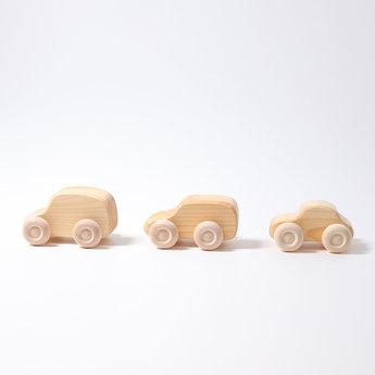 Grimms houten speelgoed Zes blank houten auto's