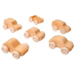 Grimms houten speelgoed Grimms Houten auto's blank - 6 stuks