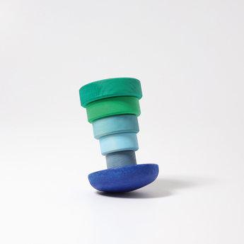 Grimms houten speelgoed Kleine stapeltoren blauw en groen tinten