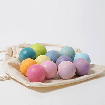 Grimms houten speelgoed 12 kleine houten pastelkleurige ballen