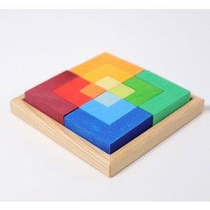 Grimms houten speelgoed Grimms blokkenpuzzel groot vierkant