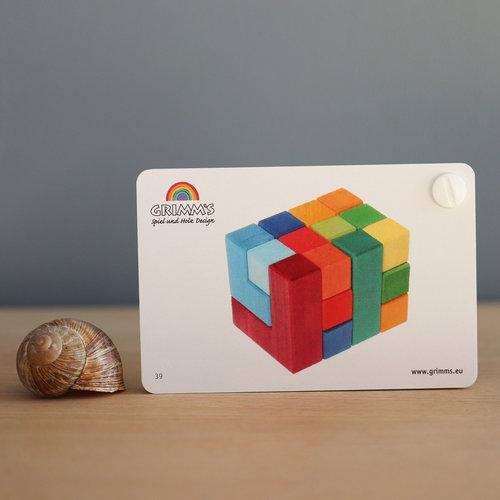 Grimms houten speelgoed Voorbeeld boekje voor blokkenpuzzel vierkant