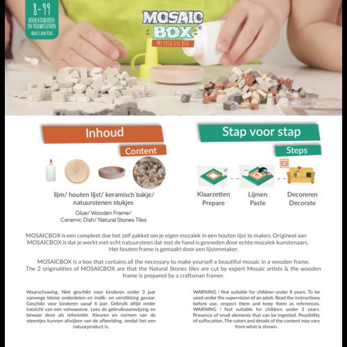 Neptune Mosaic Mosaikit en Mosaicbox Mosaicbox mozaiek Mandala 3 met lijst 20 cm