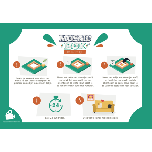 Neptune Mosaic Mosaicbox mozaiek Mandala 8 met lijst 20 cm