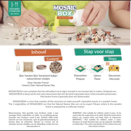 Neptune Mosaic Mosaicbox - Mozaiek met lijst Kat 17 cm