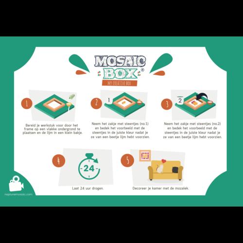 Neptune Mosaic Mosaikit en Mosaicbox Mosaicbox - Mozaiek met lijst Kat 17 cm