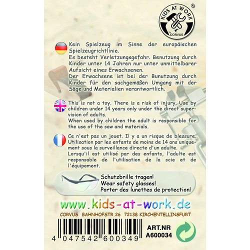 Kids at work kindergereedschap Metalen beugelzaag met verwisselbaar zaagblad