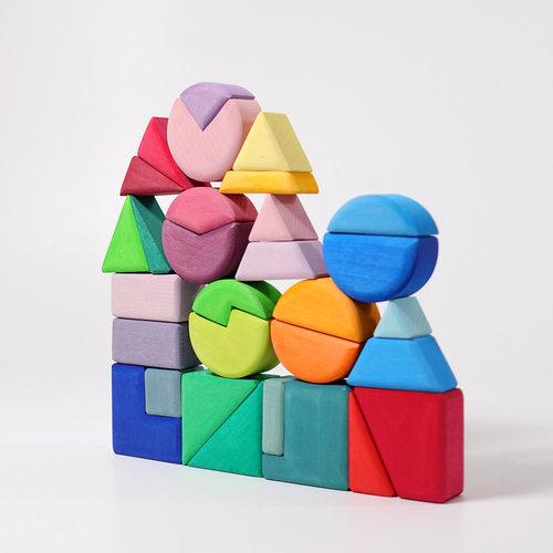 Grimms houten speelgoed Bouwset  driehoek, vierkant en cirkel
