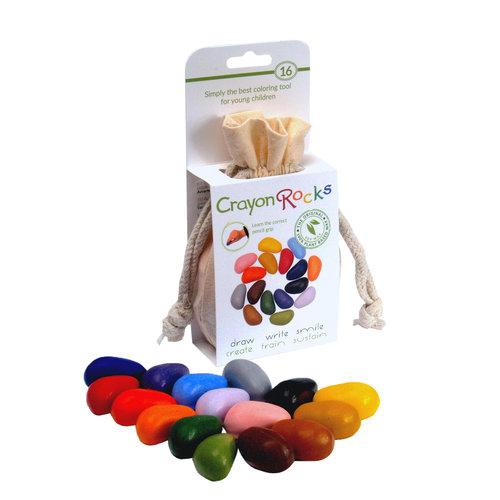 Crayon Rocks sojawaskrijtjes Crayonrocks - 16 sojawaskrijtjes in een ecru katoenen zakje