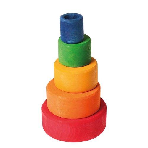Grimms houten speelgoed Ronde stapelbakjes van hout in rode kleurcombinatie
