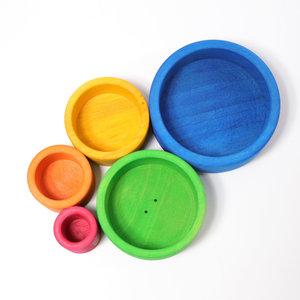 Grimms houten speelgoed Grimms Stapelbakjes rond blauw