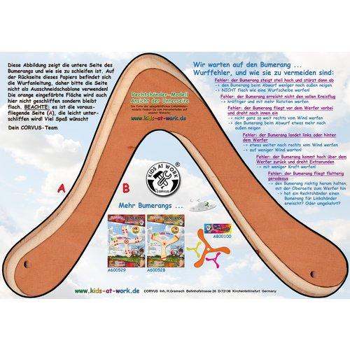 Kids at work kindergereedschap Boemerang uit hout 2 vleugels, zelfbouwpakket