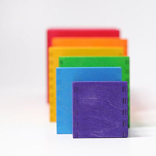 Grimms houten speelgoed Grote set regenboog stapeldoos