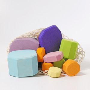 Grimms houten speelgoed Grimms bouwblokken pastel kleuren