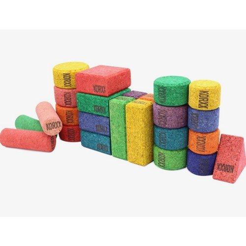 KORXX kurk blokken Form Colour Mix educational - 56 gekleurde kurk bouwvormen